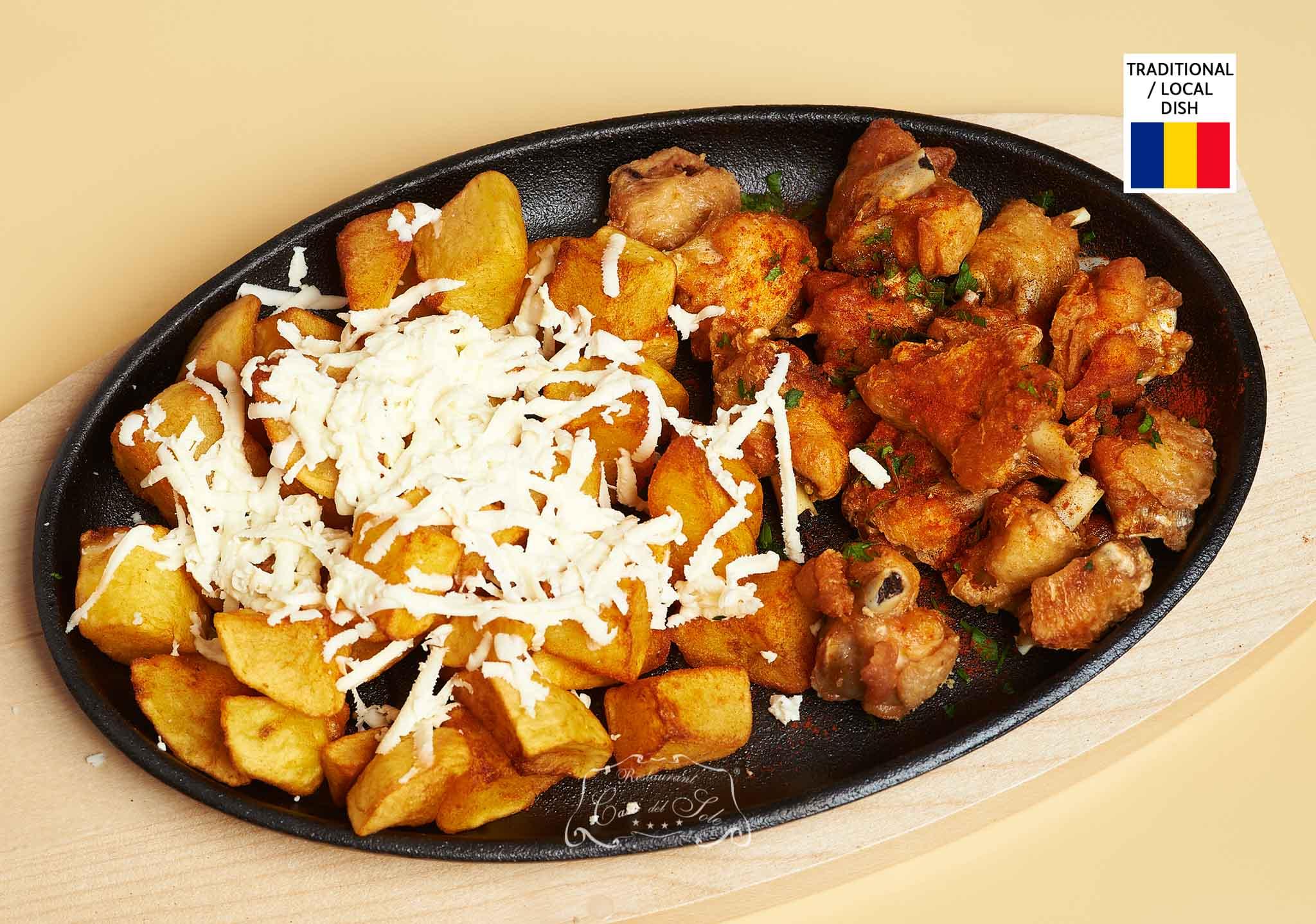 Livram la domiciliu Jumeri din aripi de pui cu cartofi fripti si branza in Timisoara